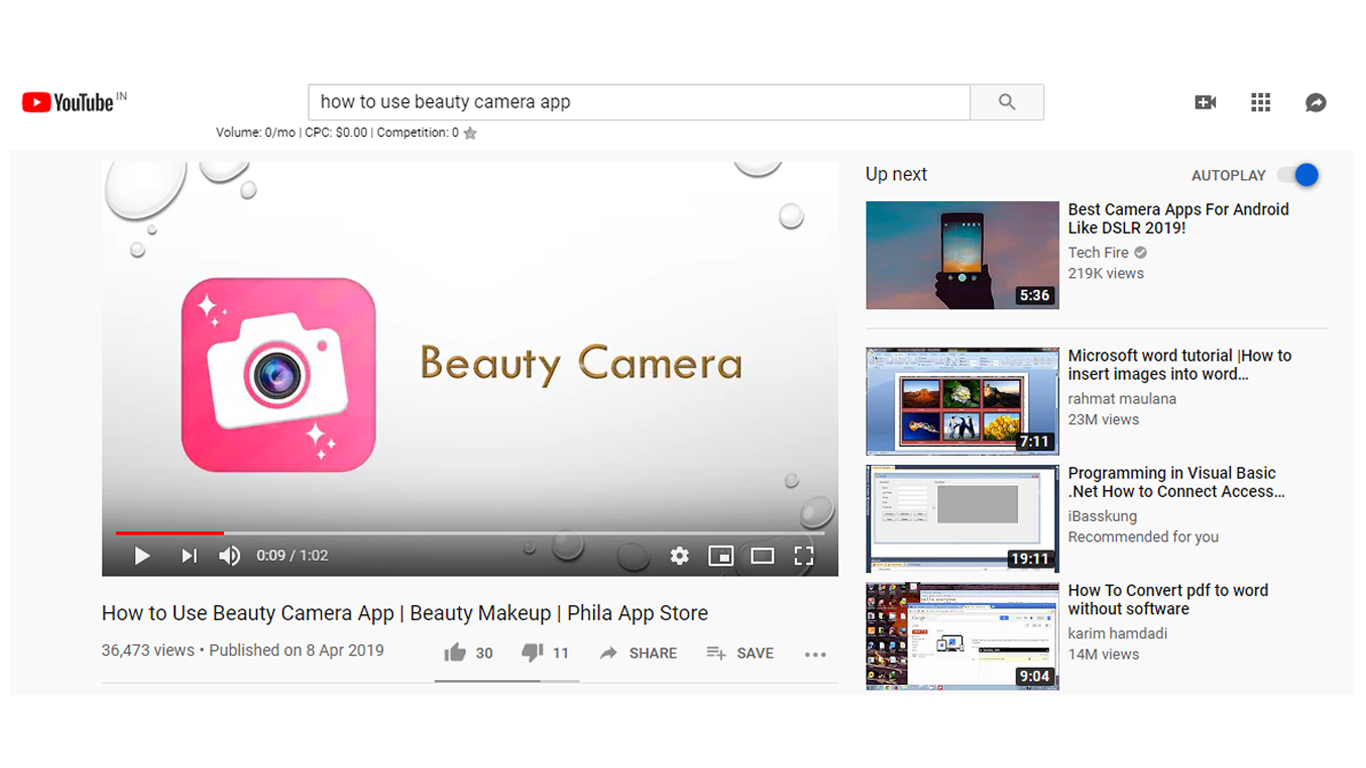"Top Ranking Video on Youtube ""how to use beauty camera app"""