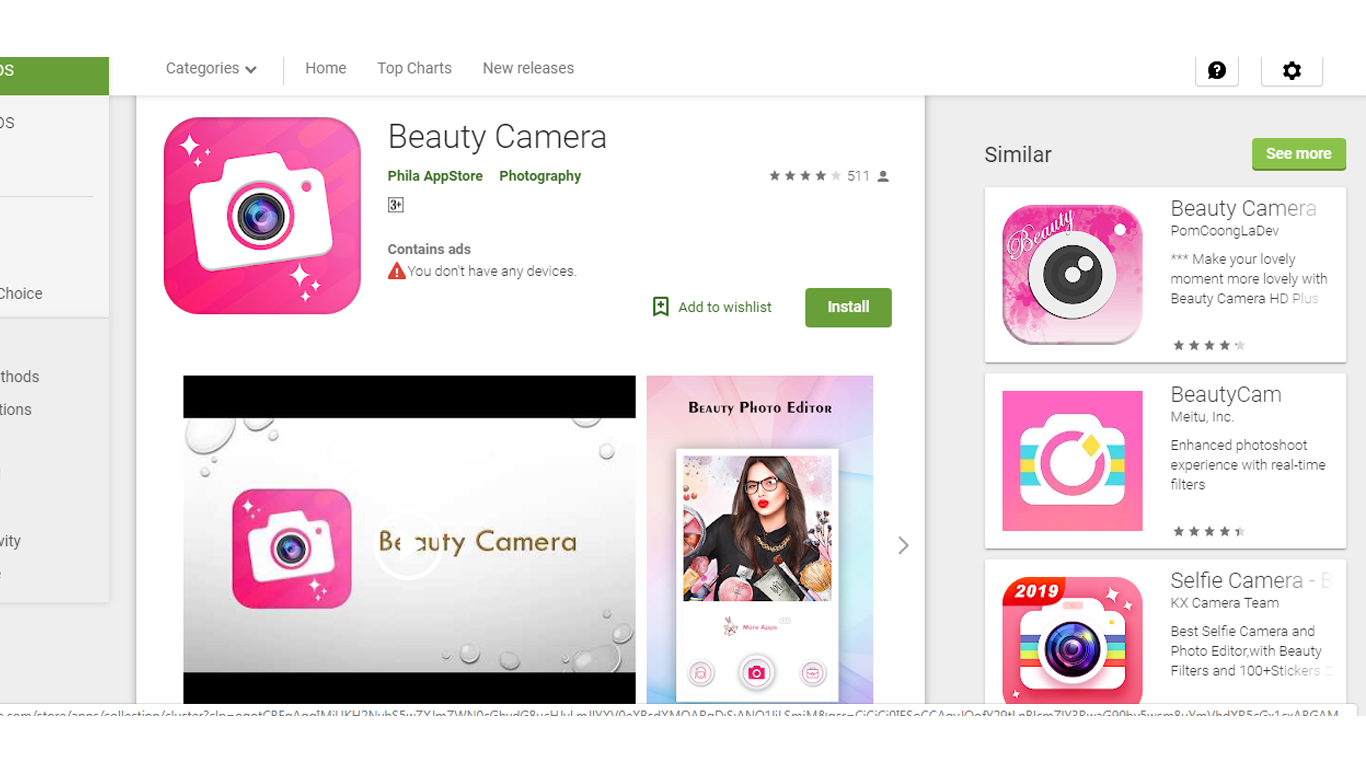 "Top Ranking Android App On Google Play Store ""Beauty Camera"""